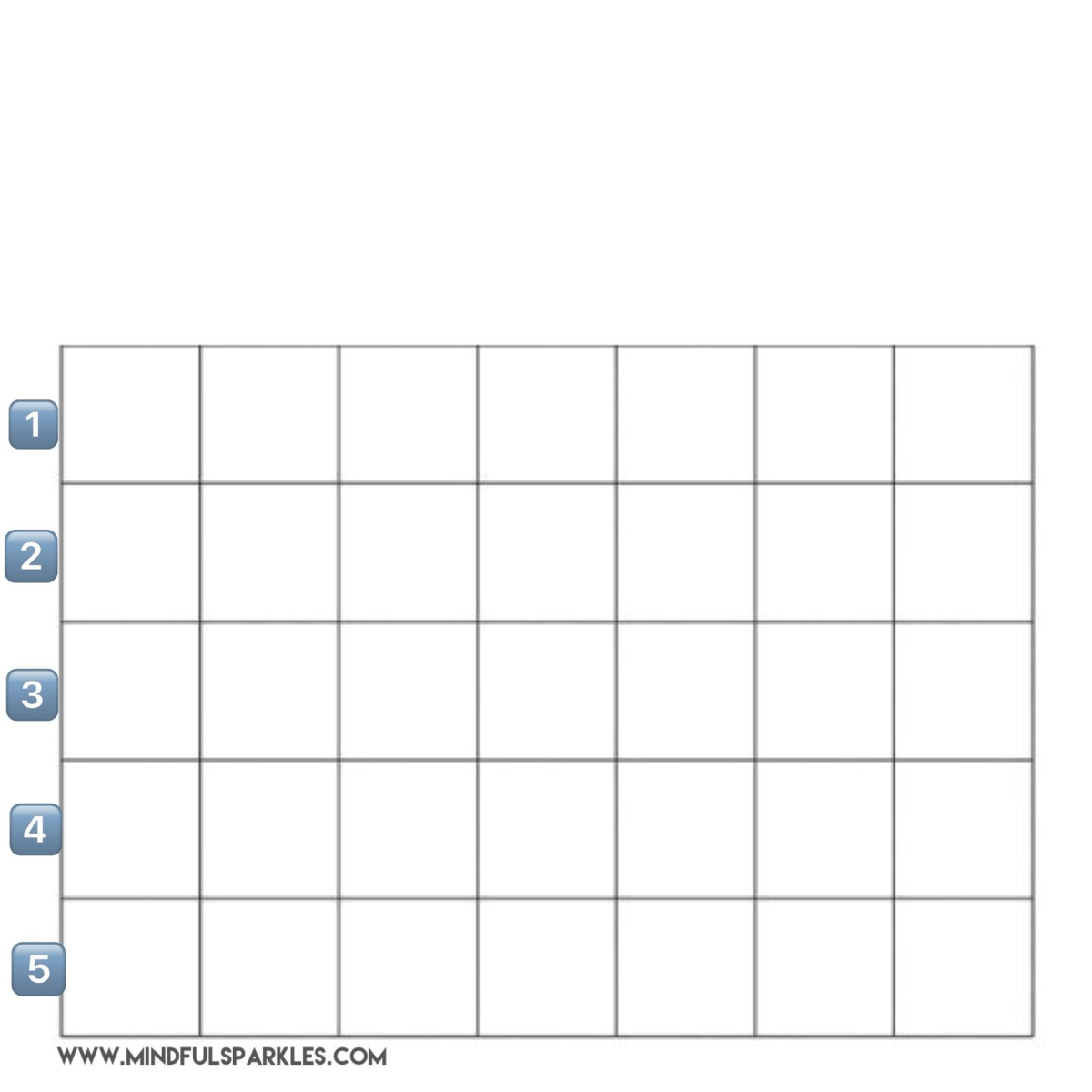 Blank Grid Numbered 1-5