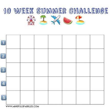 Blank Summer Challenge Grid Numbered 1-5